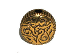 Coin Shape Bead 18x9mm Gold Tone Qty: 1