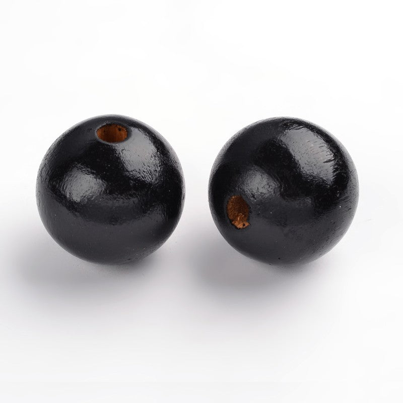 30mm Wood Bead w. 5mm Hole - BLACK (Qty: 25)