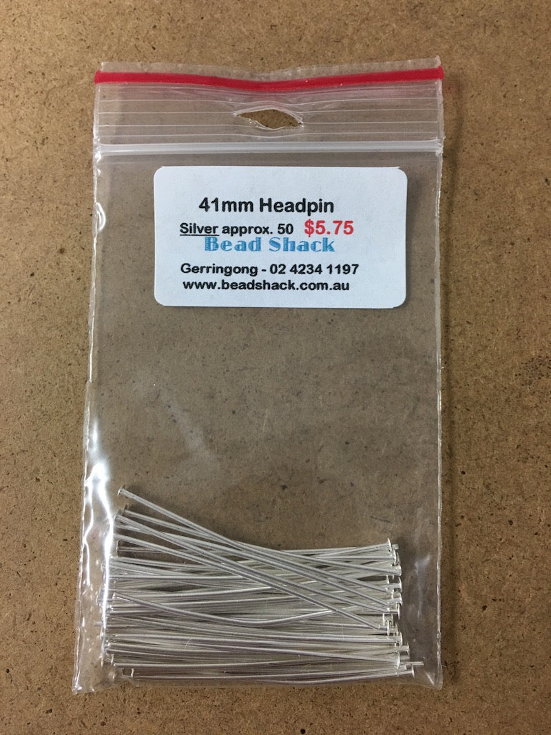 41mm Headpin - Silver - Bead Shack