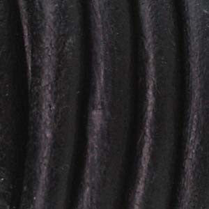4mm Round Leather Cord - BLACK