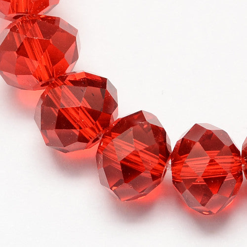 Red - Chinese Crystal Rondelle (Abacus) Bead Strands - 3 sizes available