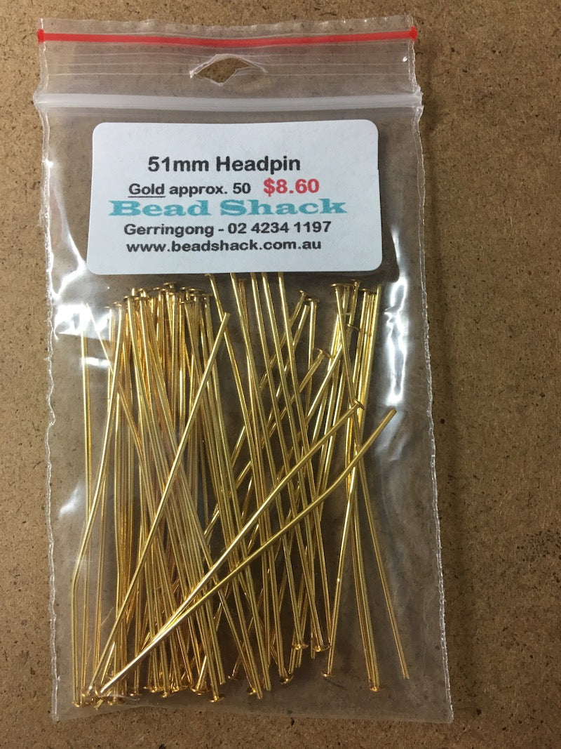 51mm Headpin - Gold - Bead Shack