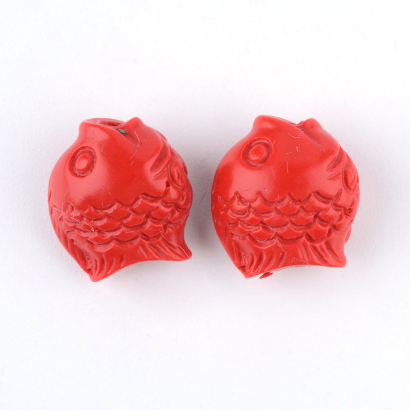 Fish Cinnabar Bead - Qty: 5