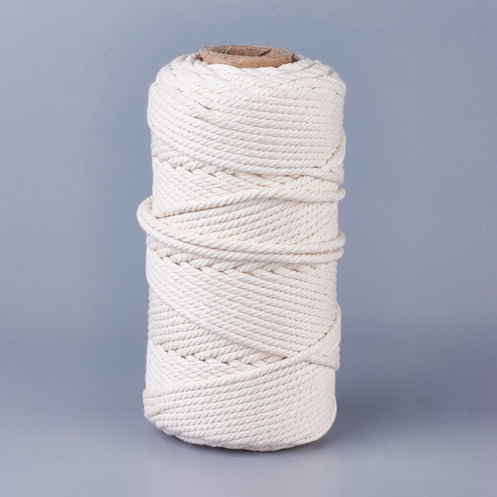 4-5mm Natural Cotton Macrame Rope - Natural - 100m Spool
