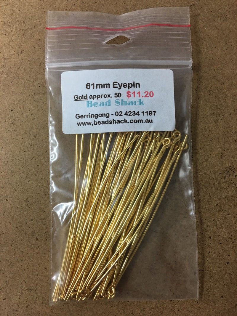 61mm Eyepin - Gold - Bead Shack