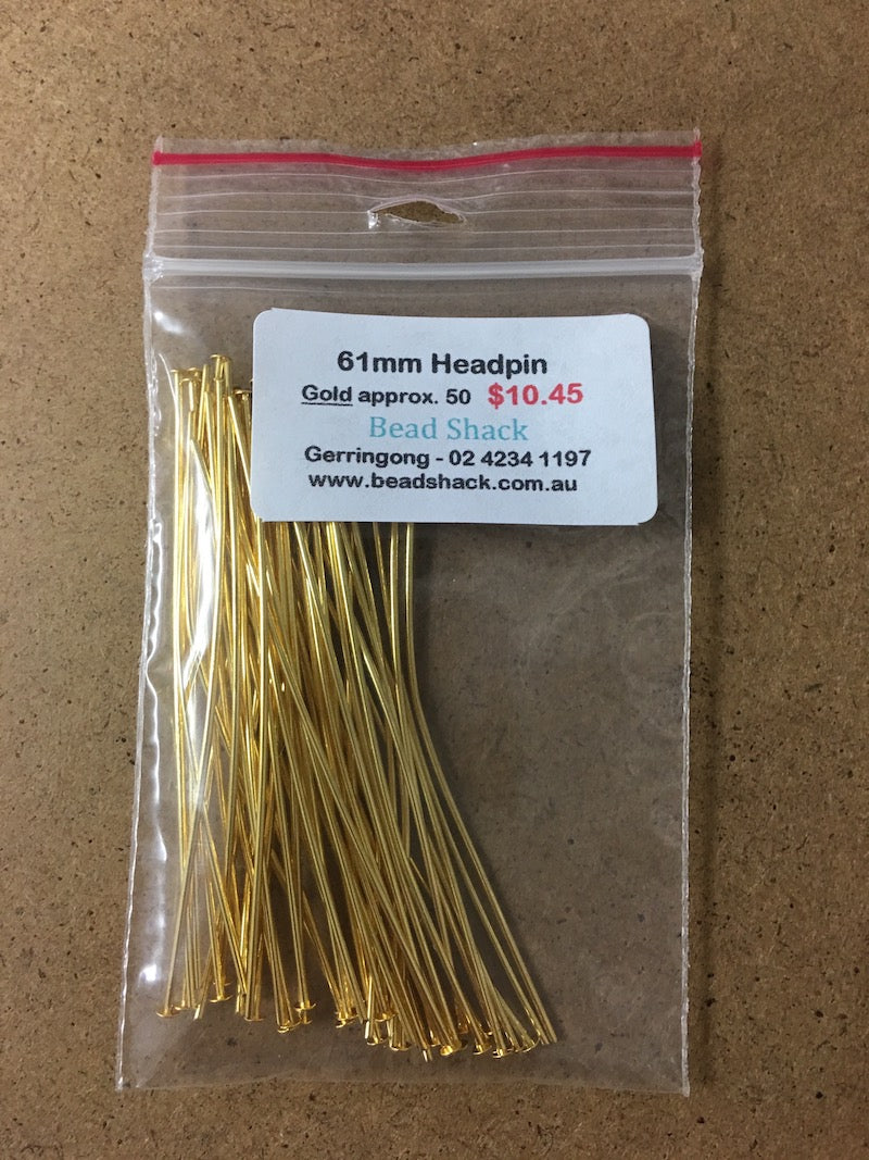 61mm Headpin - Gold - Bead Shack