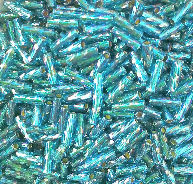 Teal Silverlined Rainbow 6mm Matsuno Bugle Beads (10 grams)