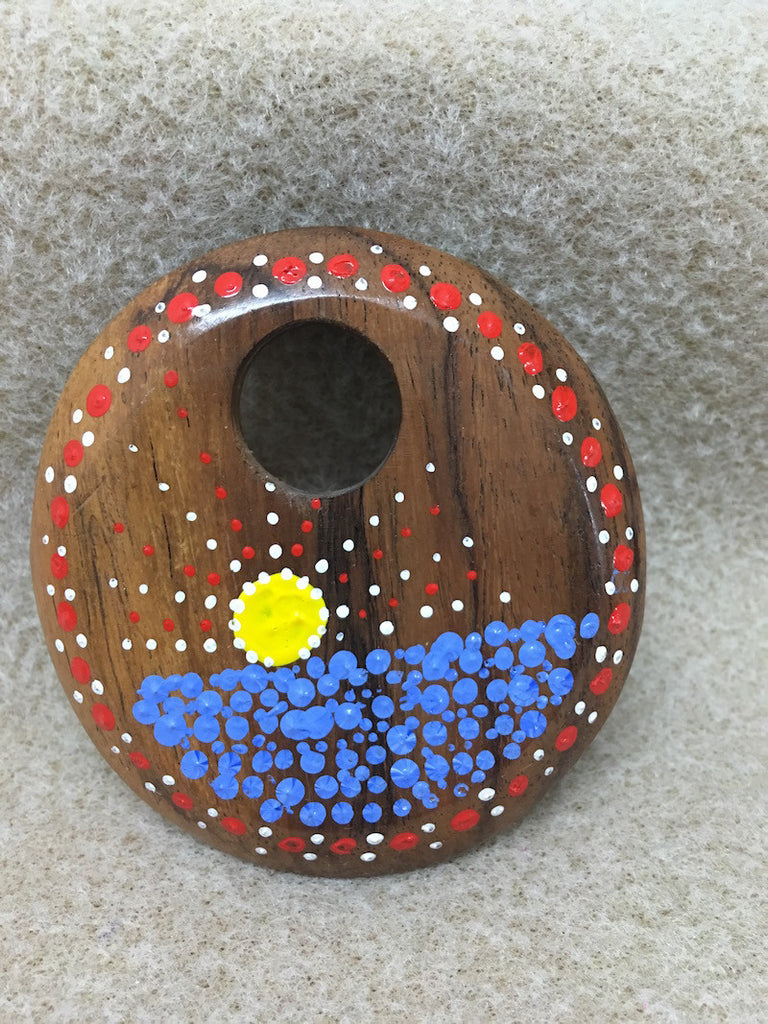 Aboriginal Art - Round Wood Pendant - Water & Sun on Lighter Wood