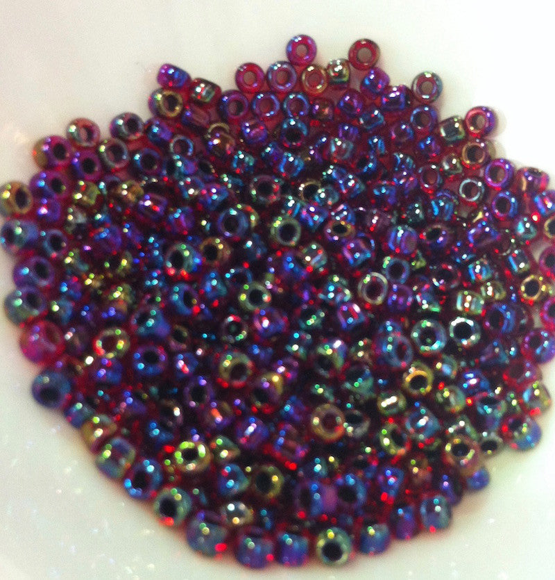 Purple Lined Red Rainbow  8/0 (8/229) Qty: 10 grams **