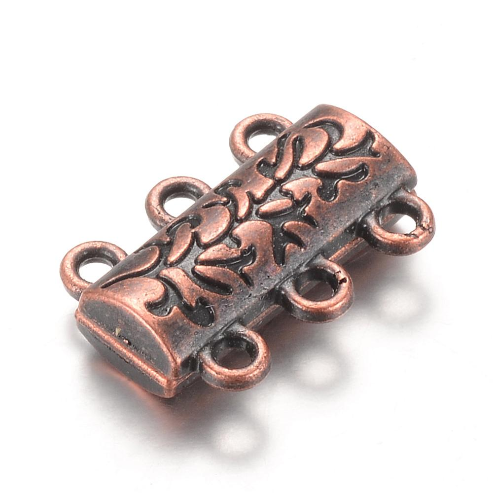 Magnetic 3-Strand Clasp - Ancient Brass