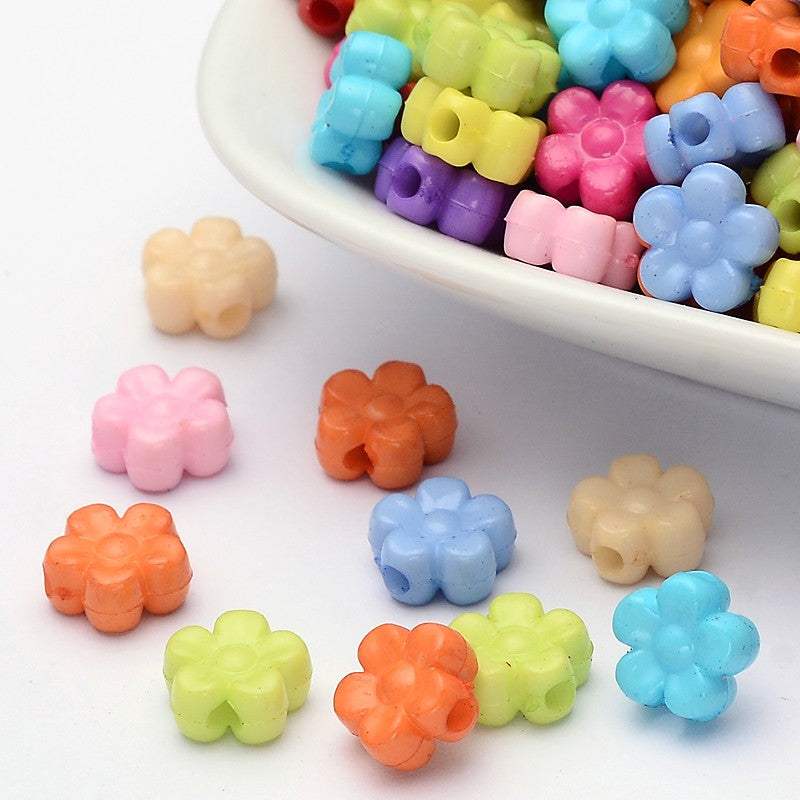 Opaque Flower Beads - Qty: 100