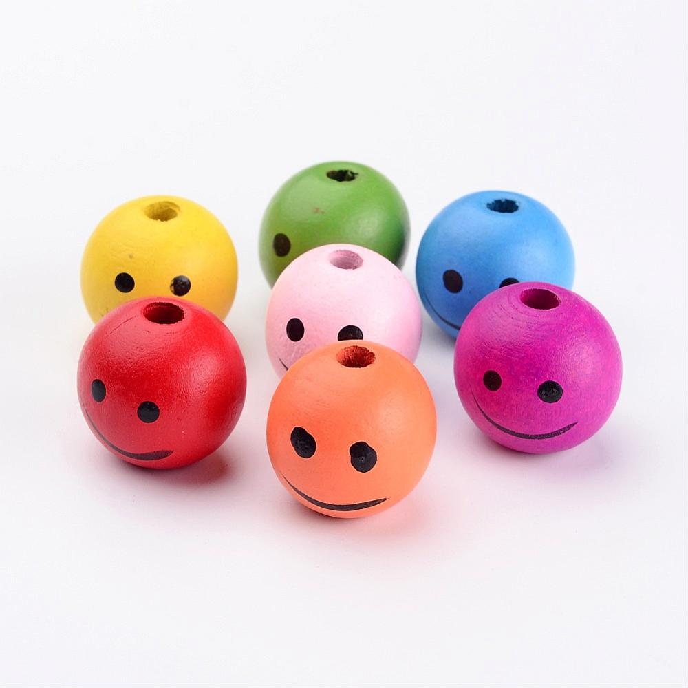 Face Painted Beads - Painted Wood