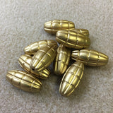 25x10mm Rice Shaped Matte Gold Vintage Bohemian Look Bead