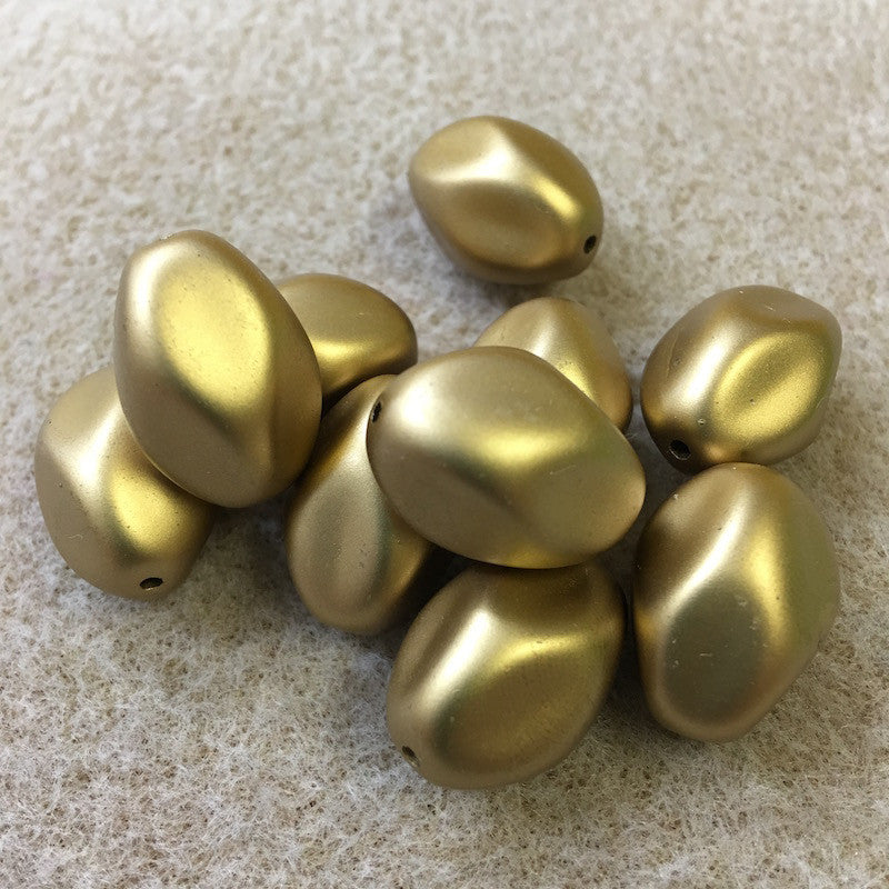 20x14mm Nugget Shaped Matte Gold Vintage Bohemian Style Bead