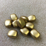 14x10mm Pillow Shaped Matte Gold Vintage Bohemian Style Bead