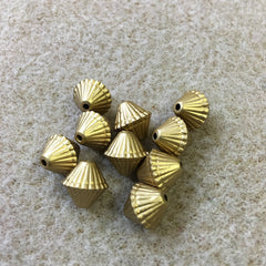 10mm Bicone Shaped Matte Gold Vintage Bohemian Style Bead