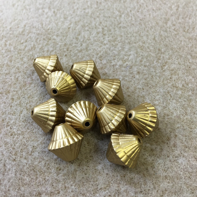 14mm Bicone Shaped Matte Gold Vintage Bohemian Style Bead