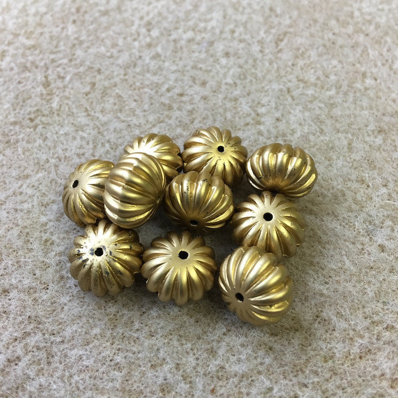 8x12mm Melon Shaped Matte Gold Vintage Bohemian Style Bead