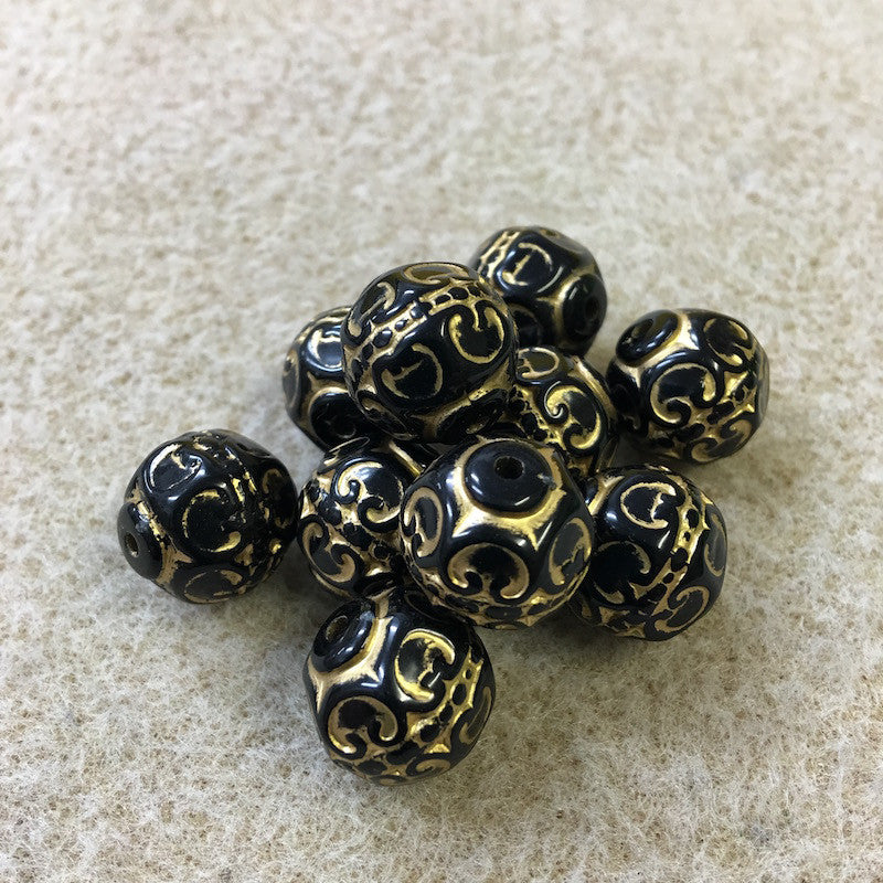 12mm Round Black/Gold Vintage Bohemian Look Bead