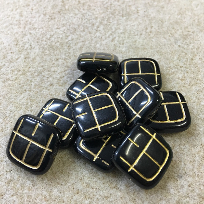 19mm Square Shaped Black/Gold Vintage Bohemian Look Bead