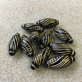 25x11mm Torpedo Shaped Black/Gold Vintage Bohemian Style Bead