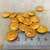 Lacquered Wood 16x6mm Disc Shaped Bead - Yellow Ochre