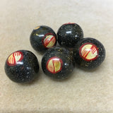 Lacquered Wood 22mm Round Bead - Black Patterned