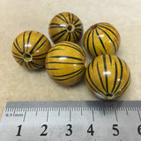 Lacquered Wood 22mm Round Bead - Tiger Stripes