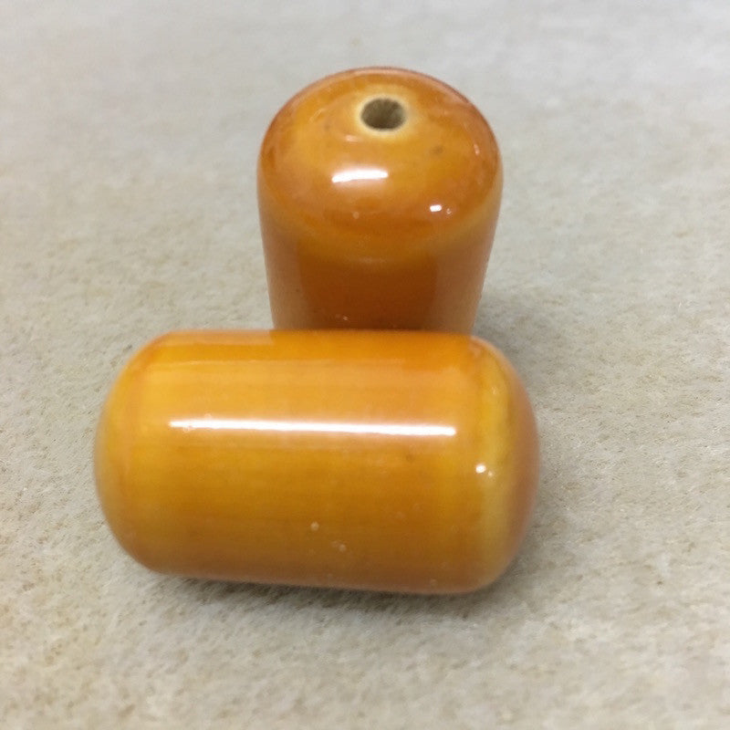 Lacquered Wood 31x18mm Log Shaped Bead - Yellow Ochre