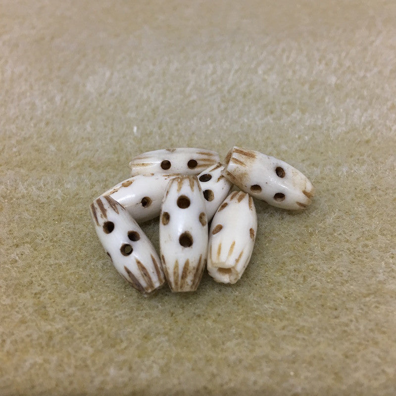 Barrel 16x7mm Bone Bead Qty: 10