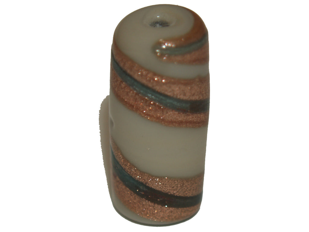 Lampwork Tube Beads w. Metallic Swirl Stripes - 9 colours available