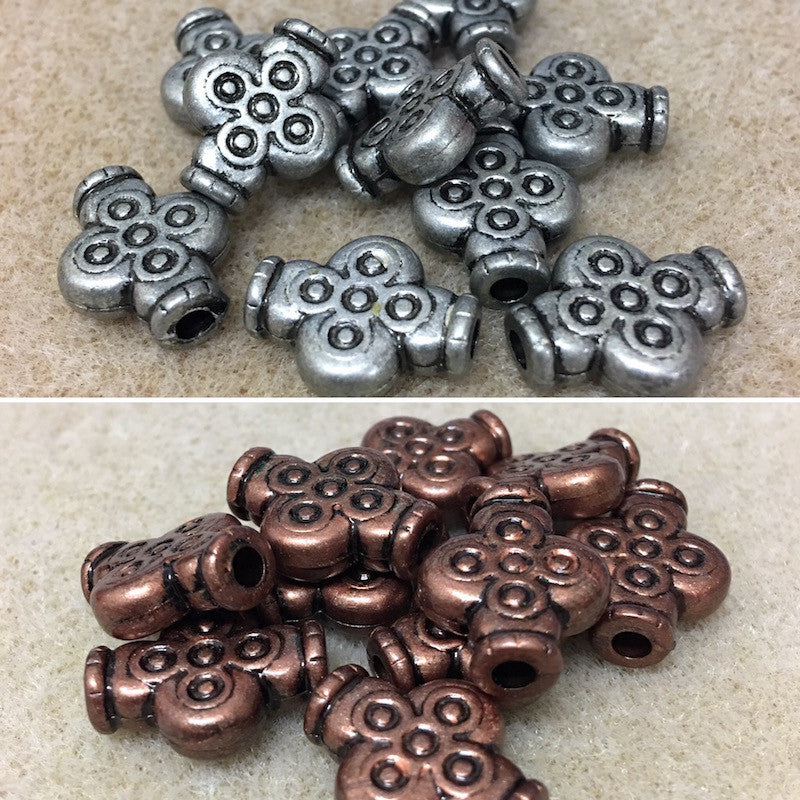 18x14mm Cross Shape Metallic Clay Look Bead