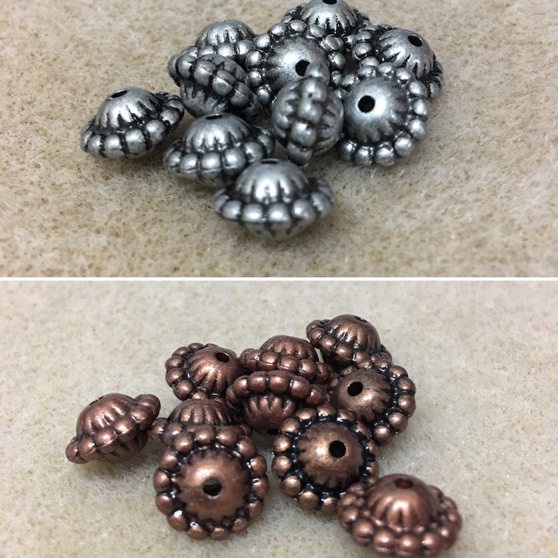15x19mm Rondelle Shape Metallic Clay Look Bead