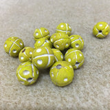 Round w. Dots & Cross Patterning - Clay Handmade Vintage Beads
