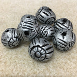 Round w. Flower & Line Patterning - Clay Handmade Vintage Beads