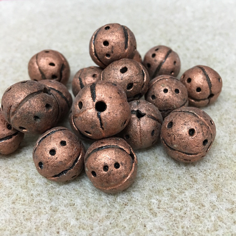 Round w. Dots & Lines Patterning - Clay Handmade Vintage Beads