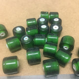 Tube Beads 12x12mm (25) - available Red or Green w. White Core