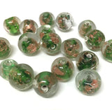 10mm Round Clear, Green w. Foil Qty: 10