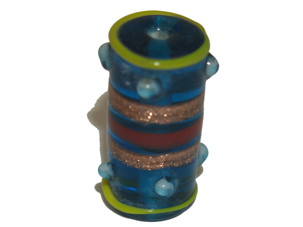 Lampwork Tube Bead w. Metallic Bronze Stripes & Dots - 6 colours available