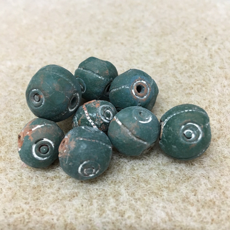 Round w. Spiral & Line Patterning - Clay Handmade Vintage Beads