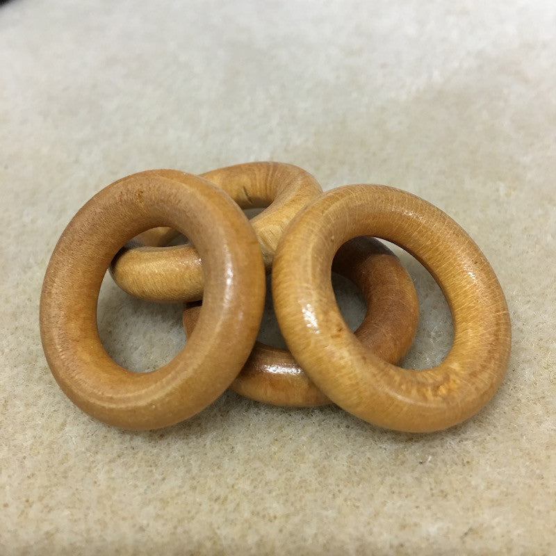 Wood 28mm Rings Qty: 10 beads