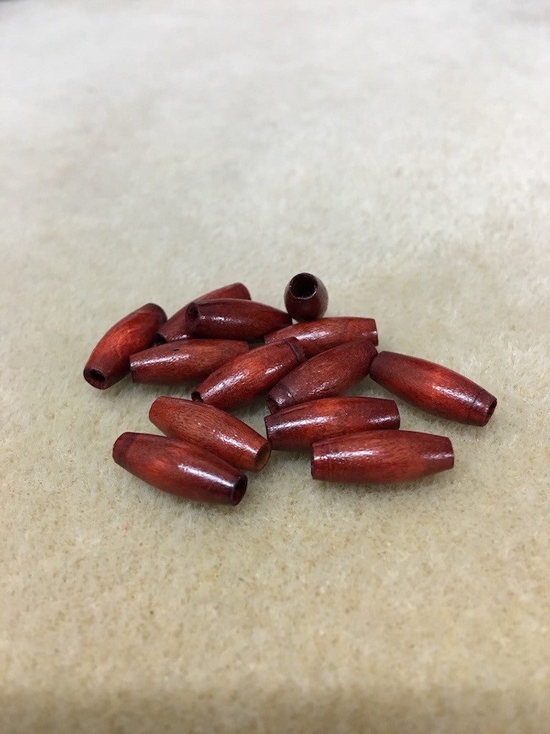 Wood 10x6mm Rice Shaped Beads Qty: 50 beads