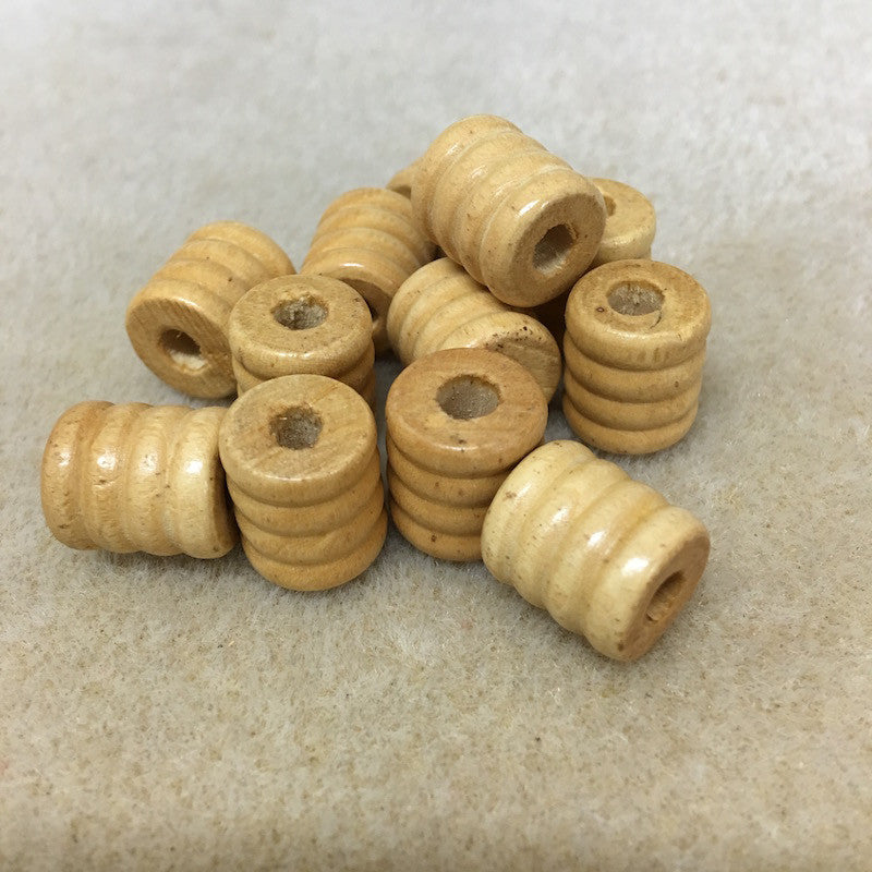 Wood 13.5x11mm Coil Shaped Beads Qty: 50 beads