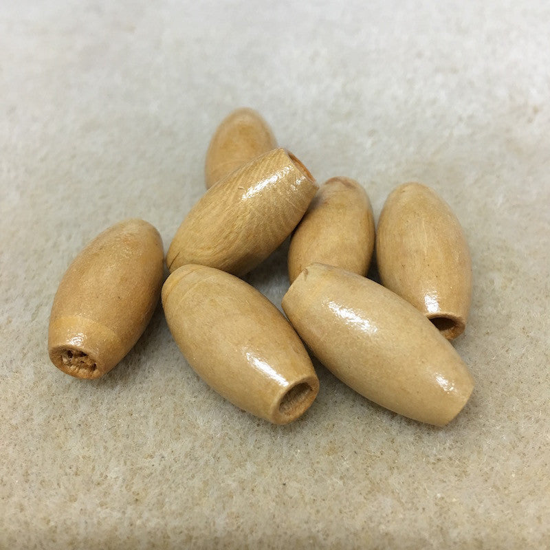 Wood 23x12mm Rice Shaped Beads Qty: 10 beads
