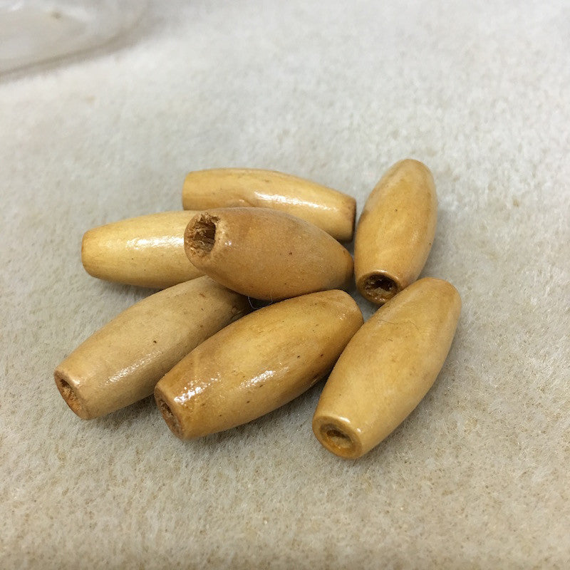Wood 29x13mm Rice Shaped Beads Qty: 10 beads
