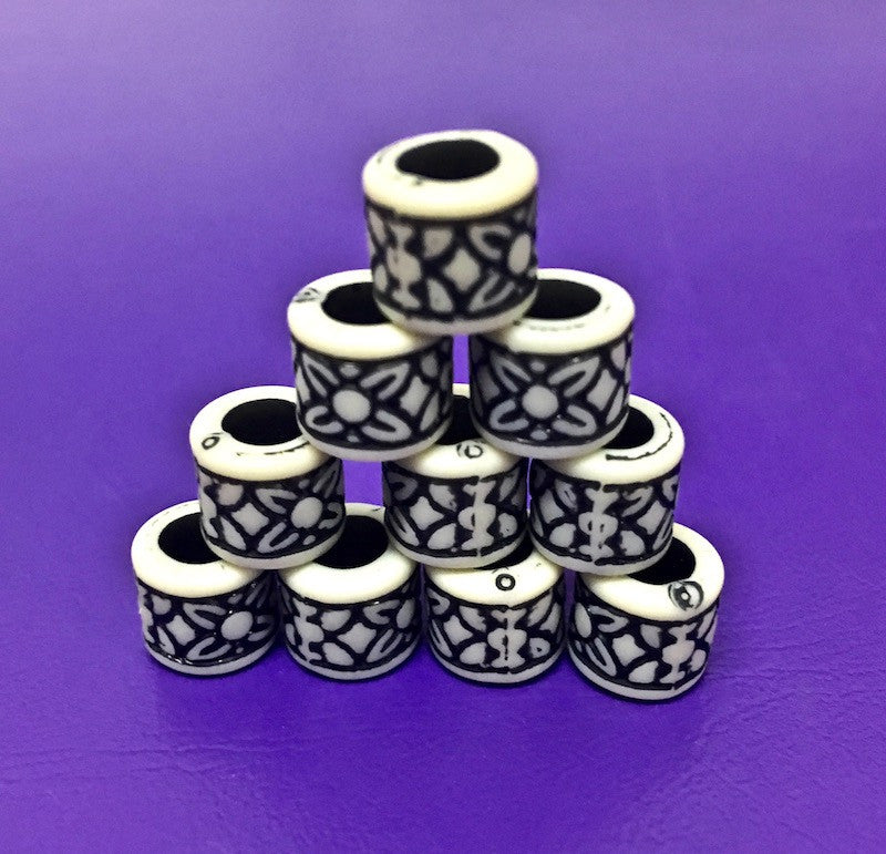Tube Shape Vintage Beads - Black/White