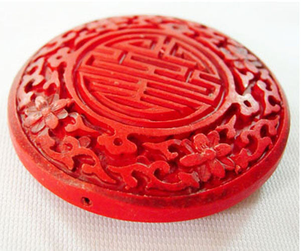50mm Flat Red Cinnabar Bead Qty: 1