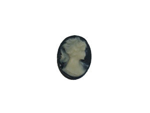 12x10mm Black & Ivory Cameo Qty: 1