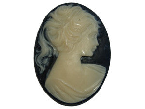 40x30mm Black & Ivory Cameo