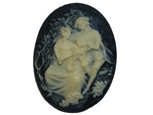 40x30mm Black & Ivory Cameo - Picnic